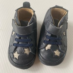 Old soles navy leather size 4 toddler shoes stars